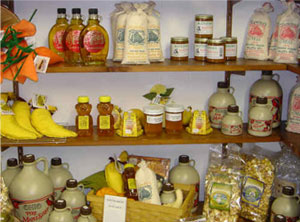 Local products including honey, jam and maple syrup